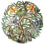 24 inch Painted Tree with Birds