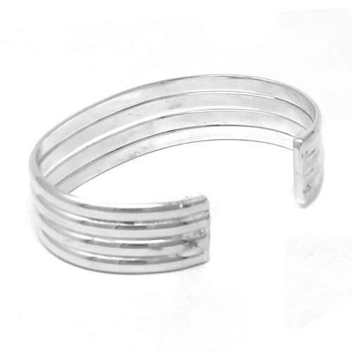 Alpaca Silver Overlay Cuff Bracelet - Four Bar Design