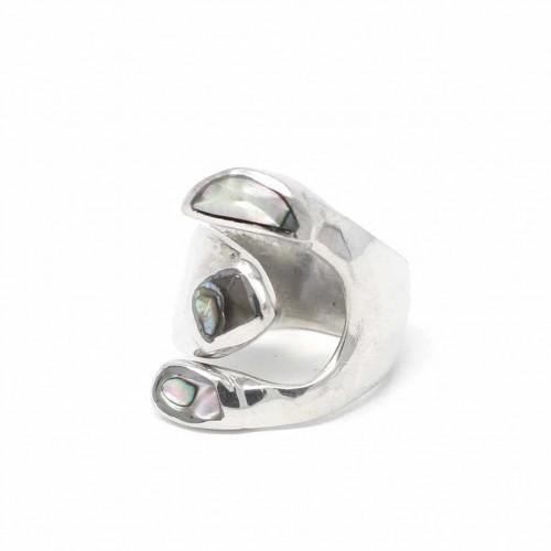 Alpaca Silver Wrap Ring, Abalone - Size 8