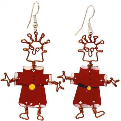 Dancing Girl Santa Earrings