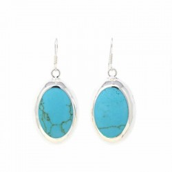 Earrings, Turquoise Ovals