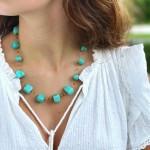 Floating Stone & Maasai Bead Necklace, Aquamarine Blue
