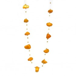 Floating Stone & Maasai Bead Necklace, Pumpkin Spice