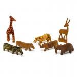 Handcarved Miniature Wood Safari Animals, Set of 7