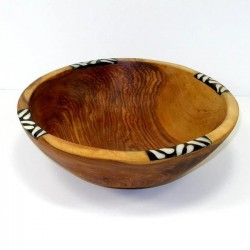 Handcarved Olive Wood Bowl 9 inch with Inlaid Bone