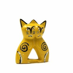 Handcrafted 4-inch Soapstone Love Cats Sculpture in Yellow