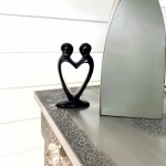 Handcrafted Soapstone Lover's Heart Sculpture in Black