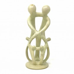 Natural 8-inch Tall Soapstone Family Sculpture - 2 Parents 4