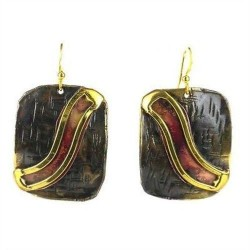 Red Wave Copper and Brass Earrings