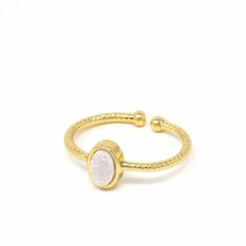 Ring: White Druzy Agate Stone - Starfish Project