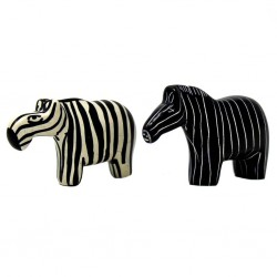 Zebra Soapstone Sculptures, Set of 2